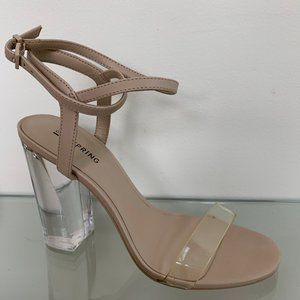 Call It Spring Open toe lucite heels